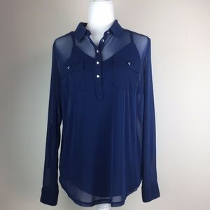 INC royal blue chiffon blouse with crystal buttons